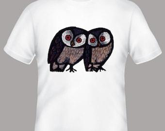 Happy Owls Celestino PIatti Illustration Tshirt, sizes s, m, l, xl, 2xl, 3xl, 4xl