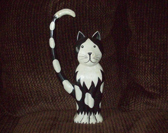 "Wooden Cat Folk Art /Art Deco Figure - Large 15"" Tall"