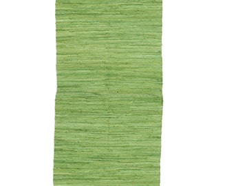Fab! Hand Made Loom Green colour COTTON Rag Rug Recycled Boho Hippy Scandi Shabby Chic Traditional Upcycled Rustic 60 x 240cm FUN!