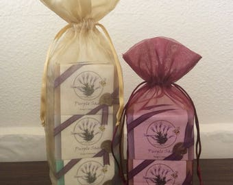 2 Bars Handcrafted Purple Sage Soaps - Custom Label Gift Bags (Holiday/Special Occasion) - 20.00