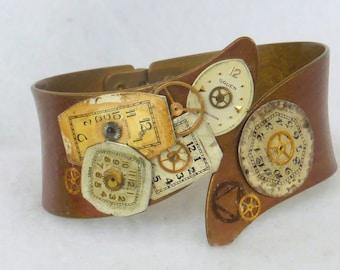 Steampunk Style Hinged Cuff Bracelet SB36