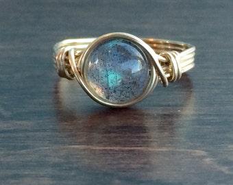 Labradorite Wire Wrapped Ring, Labradorite Gemstone Ring, 14k Gold Filled Ring, Any Size