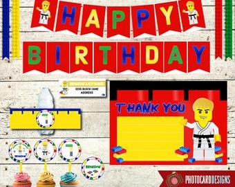 Building Block Party Pack | Printable Package | PDF | Digital | Decorations | Building Bricks | Bottle Label | Thank You | Address Label