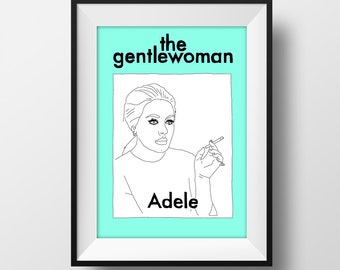 Adele Gentlewoman Magazine Cover Graphic Illustration 6x4 - Art Print