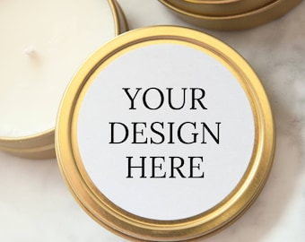 YOUR DESIGN HERE Wedding Favors, Gold Tin Custom Personalized Candles, Candle Wedding Favors, Mini Soy Candles, Shower, Party Favors