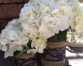 Mason Jar Wrap, NAVY BLUE Lace & Burlap Mason Jar Decoration, Shower, Party, Wedding, Centerpiece, Decoration