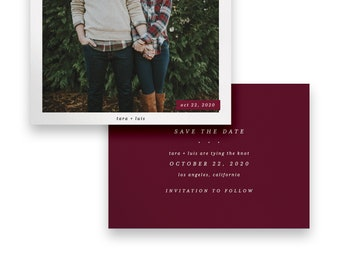 Marsala Save the Date/Photo Save the Date/Marsala Photo Save The Dates/Save-The-Date/Ruby/Luxury/Modern/Picture/Classic