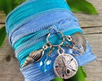 Silk Wrap Bracelet - Yoga Jewelry - Beach - Boho Silk Wrap Bracelet - Wrap Bracelet - Gypsy Bracelet - Sea Shell Charms - Beach Dreams