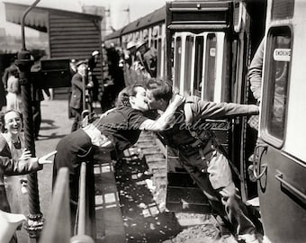 Vintage Photo Of To War A Kiss For Good Luck, UK. Black & White Or Sepia Reproduction Photograph.