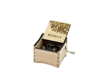 Michelle - Personalised / Engraved Hand Crank Wooden Music box