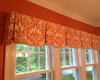 "Custom Wide Width Valance PEYTON Hidden Rod Pocket® Valance fits 87""- 106"" window Made with your fabric, Includes LABOR and LINING"