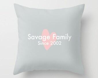 Custom Pillow Cover, Heart Pillow Cover, Family Pillow Cover, Valentines Pillow Cover, Custom Name Date Pillow, Love pillow Gift _M