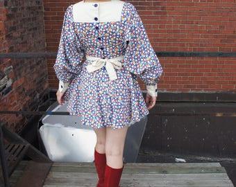 ANASTASIAS SAN FRANSISCO 1960's Designer Helen Robertson Pop-Art Bishop Sleeve Sailor Collar Mod Mini Dress