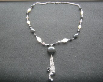Handmade necklace with pendant, fantasy necklace, black/white, diameter approx. 15 cm, made about 1970 very good condition