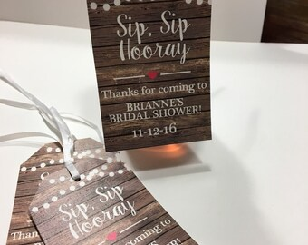 Bridal Shower Favor Tags,  Wine Bottle Tags - Personalized Wedding Wine Bottle Favors