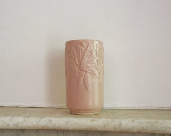 "Vintage Nelson McCoy Butterfly 1940s Art Deco Vase, Pink, Large 8"" Pottery"