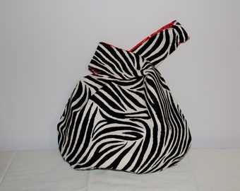 Japanese Knot Bag/Knitting Bag   Black and white zebra print