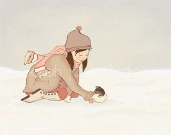 Children's Wall Art Print - Little Visitor - Kids Nursery Winter Holiday Decor