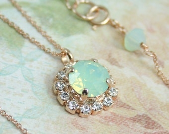 rose gold necklace,crystal pendant necklace,mint opal necklace,mint green wedding,mint green necklace,bridesmaid necklace,gift for her,mint