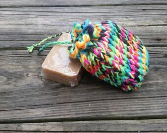 Neon rainbow soap saver bag, soap scrubby, knit soap saver, soap sack, soap saver bag, knit soap pouch, knit soap bag, drawstring soap bag