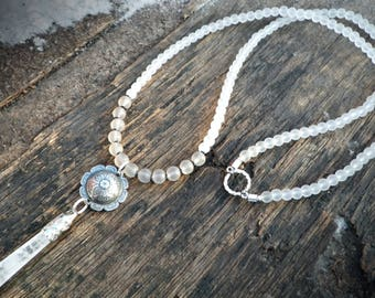 Natural Quartz crystal healing glass beaded necklace