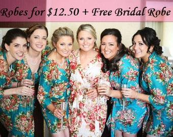 Bridesmaid Robes, Bridal Party Robes, Bridesmaids Robes, Cotton Floral Robes, Getting ready, Free Bridal Robe, Cheap Bridesmaid Robes, Robes
