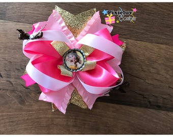 """Princess Belle, Beauty and the Beast Pink and Gold 6"""" Stacked Hair Bow"""