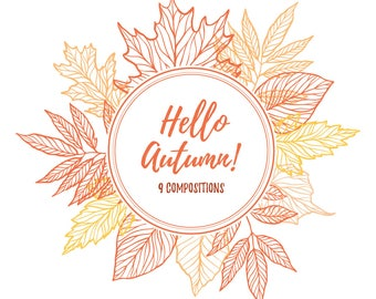 Autumn clipart. Leaves and branches compositions. Digital illustration, fall, autumn, september, maple, orange, leaf, thanksgiving