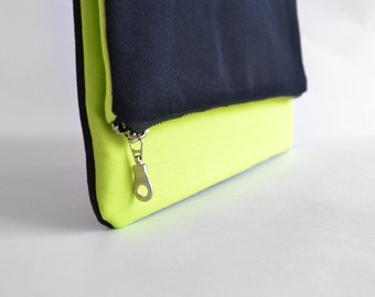 Fold Over Clutch bag in Neon Green and Navy blue