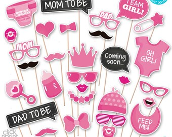 Baby Shower Print Yourself Photo Booth Props - Baby Shower Printable Photo Props Set - It's a Girl Photobooth - Pink Baby Shower Printables