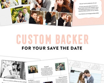 Save the Date Custom Backer Design, Save the Date Timeline, Save the Date Collage, Save the Date Note Cards, Save the Date Cards, Custom