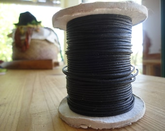 black waxed cotton cord thread, 1 mm