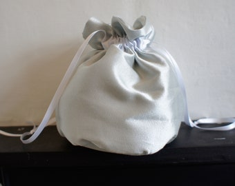 Baby Blue Silk Drawstring Pouch for Flower Girls, Bridesmaids or Holy Communion Bag