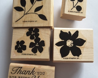 STAMPIN' UP! *Best Blossoms*. 5 Rubber mounted rubber stamps. 2006