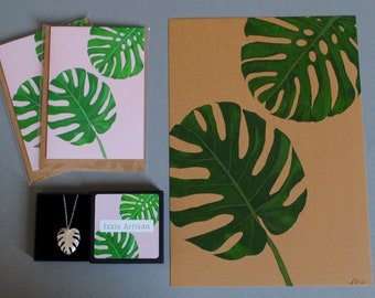 Mad about MONSTERAS pack: recycled sterling silver monstera necklace, two greeting cards and one A4 art print on recycled kraft card