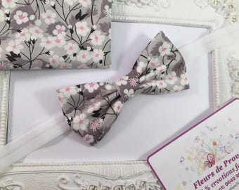 Bow tie and Pocket set suit fabric Liberty of London Mitsi gray child