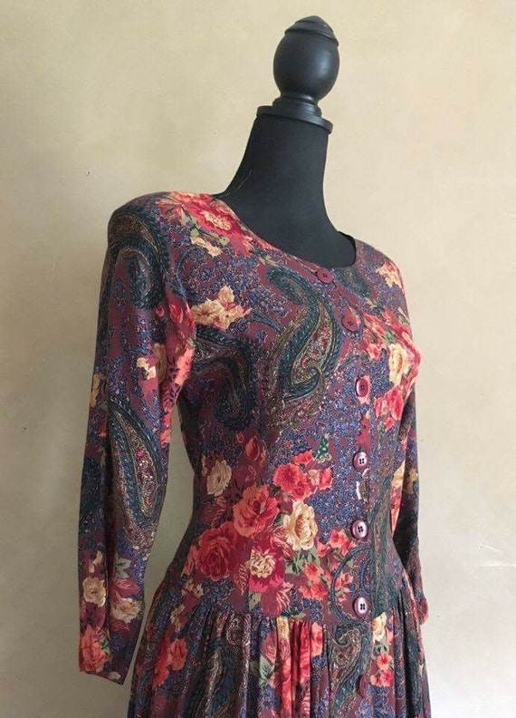 Vintage 80's Beautiful Floral Rose Print bohemian Dress