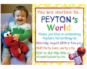 Elmo's World Birthday Invitation - Custom Digital File