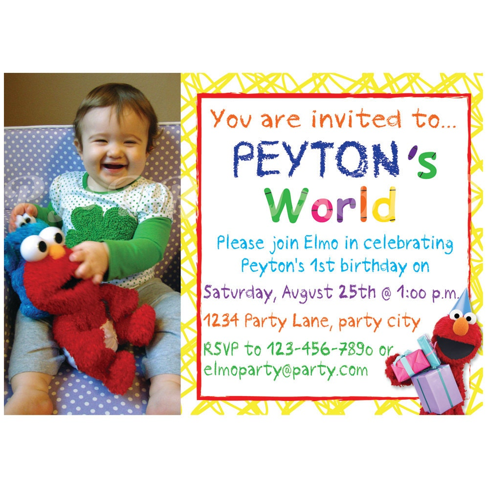 Elmos World Birthday Invitation Custom Digital File