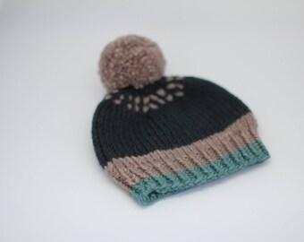 baby knit hat, merino wool hat, baby beanie, baby toque, knitted baby hat, newborn hat, hand knitted baby hat, baby boy hat, green baby hat