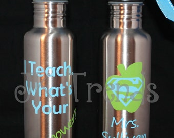 "Personalized ""Teacher Appreciation"" 25 oz Stainless Steel Water Bottle - Thank You Gift - Christmas - End of the Year - Gift - Birthday"