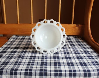 Medium Vintage Scalloped Edge Milk Glass Pedestal Bowl