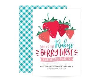 Berry Sweet Birthday Invitation - strawberry, berry theme