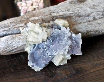 Calcite & Amethyst Flower Cluster, Quartz Crystal Healing Stone, Amethyst Specimen, Wiccan Altar Supplies, Wicca Altar, Raw Crystal Cluster