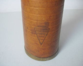 Antique vintage Leather industrial Spool by American paper tube company
