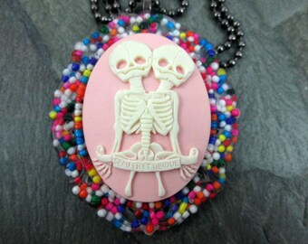 Oddity Necklace - Conjoined Skeletons - Candy Sprinkle Pendant - Sprinkle Resin - Rainbow Cameo Necklace - Conjoined Twins
