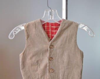 Corduroy Vest / Vtg 50s / Little Boy's Lined Beige Corduroy Button down  vest