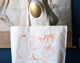 Recycled Cotton Canvas Tote Bag - Screen Printed Grocery Bag - Large Eco Friendly Shopper Tote - Pumpkin - Farmers Market - Winter Squash