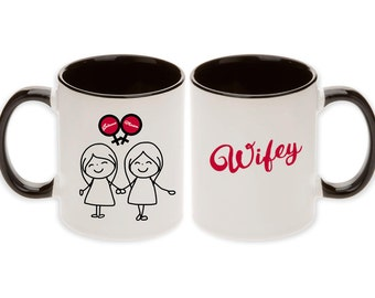 Lesbian Wedding Gift - Double Bride Cartoon Venus Symbols Wifey & Wifey Pair Mugs with Personalized Names (2pcs) -  Ships within 2 Days!
