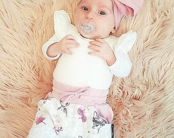 Boho blush pink neutral headwrap topknot baby headband, baby topknot, knotted headband, baby headband, baby headband,